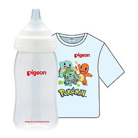 Combo Pigeon: Bình Sữa PP Plus 240ml + Áo Thun Pokemon - Xanh (Size Nhỏ)
