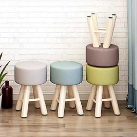 Ghế đôn sofa ngồi trang điểm, phòng khách, quán cafe, ghế cao 42cm đường kính mặt ghế 28cm, lớp đệm sofa dày 13cm, chọn màu ngẫu nhiên