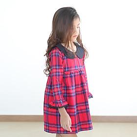 Đầm Bé Gái Caro Đỏ Tay Dài Kika K064