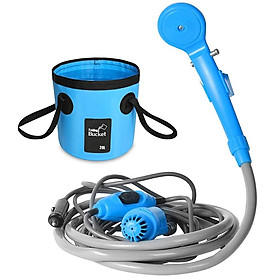 Camping Shower 12V Electric Outdoor Shower Folding Bucket Kit For Travel Car Washing Camping Hiking Flowering Plants