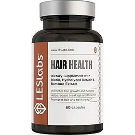 LES Labs Hair Health, Hair Growth Vitamins for Faster Hair Growth and Improved Strength & Fullness with Keratin, Biotin & MSM, 60 Capsules