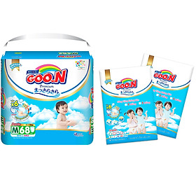 Tã quần Goon Premium cao cấp  gói siêu đại M68 (7kg ~ 12kg) + Tặng thêm 10 miếng cùng size