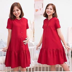 Váy bầu đỏ đuôi cá cổ tàu