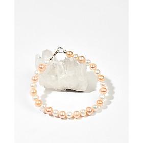Vòng tay ngọc trai nuôi thiên nhiên trắng mix ngọc trai hồng cam khoá bạc 925 - Cami.J