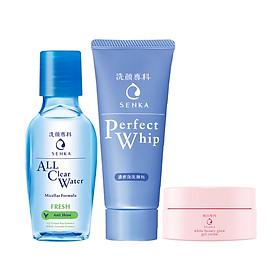 Bộ travel kit Senka dưỡng da sạch thoáng và ẩm mịn (Tẩy trang Fresh 70ml + SRM 50g + Kem dưỡng trắng da ban đêm 15g)