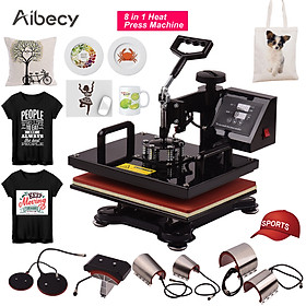 Aibecy 12x15 Inch 8 in 1 Multifunctional Combo Digital Heat Press Thermal Transfer Machine with Mug Plate Hat Cap Press