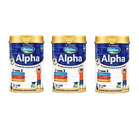 Bộ 3 Lon Sữa Bột Vinamilk Dielac Alpha 4 - Hộp Thiếc 900g