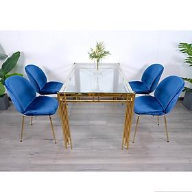 Bộ Bàn Ăn Luxury Kính 8mm Chân Mạ Vàng Siêu Phẩm của Năm BK01 - Kích Thước 1.4m x 80cm và 4 Ghế Bọc Nệm Cao Cấp (Màu ghế ngẫu nhiên)