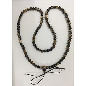 Chuỗi tràng hạt niệm Phật sừng trâu bò cao cấp (TH31 hoa đen 108 hạt 6ly dài 82cm)
