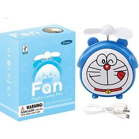 Quạt mini sạc nguồn USB kiêm đèn ngủ hình con vật ngộ nghĩnh tặng kèm quạt cầm tay 3 cánh tròn (hình ngẫu nhiên, màu ngẫu nhiên)
