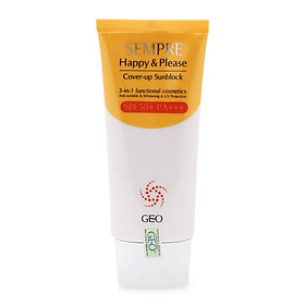 Kem Chống Nắng 3 Trong 1 Sempre Happy & Please Skin Fit Sunblock 3 In 1 Spf50+ Pa+++ Geo (100g)