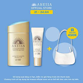 Bộ đôi Kem chống nắng dưỡng da dạng sữa bảo vệ hoàn hảo Anessa SPF 50+ PA++++ 60ml và Son dưỡng môi chống nắng Anessa Perfect UV Lip Balm SPF 35 PA+++ 5g