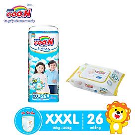 Tã Quần Goo.n Premium Cao Cấp Gói Cực Đại Size XXXL26 (26 Miếng) + Tặng Bịch khăn ướt Goo.N Premium 80 miếng cao cấp