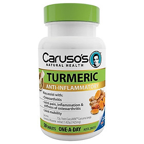 Carusos Natural Health One a Day Turmeric 50 Tablets