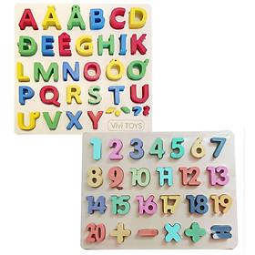 Combo bảng chữ tiếng Việt in hoa  và bảng 20 số 3D Mykids - dồ chơi trí tuệ a