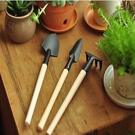 Bộ cuốc xẻng làm vườn mini tặng kèm găng tay làm vườn chuyên dụng