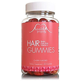 HEALTH PROPERLY - Hair Gummy Vitamins for Healthy Hair Growth   Scientifically Formulated 5000mcg Biotin Folic Acid   Hair Skin and Nails Vitamin   for All Types of Hair   Gummies for Women & for Men