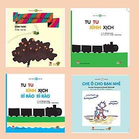 Bé làm quen với âm thanh cuộc sống - Combo 4 cuốn Ehon Nhật Bản bao gồm: Tu tu xình xịch rì rào rì rào, Châu chấu đi dạo, Tu tu xình xịch, Che ô cho bạn nhé.