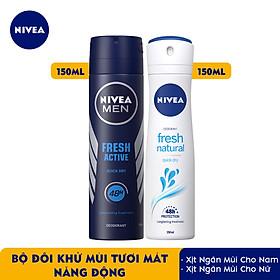Bộ đôi Xịt Ngăn Mùi NIVEA MEN Fresh Active Tươi Mát Năng Động (150ml) - 81600 & Xịt Ngăn Mùi NIVEA Fresh Nature Tươi Mát Tự Nhiên (150ml) - 81601