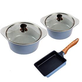 Combo 3 món, nồi đúc ceramic cao cấp 20 cm, 24 cm, chảo đúc vuông 15 x 18 dùng được bếp từ