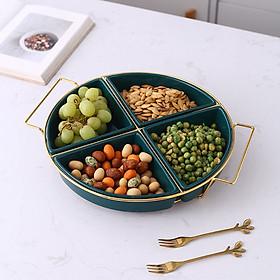 Khay mứt, hạt quả khô bằng sứ tròn khung sắt, khay tròn đựng bánh kẹo Tết