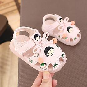 Dép sandal bé gái - Giày dép tập đi cho bé từ 1- 4 tuổi hình quả Cherry hàng Quảng Châu chất da PU siêu mềm M166