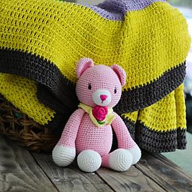 Thú bông bằng len Mèo Suri hồng dáng ngồi handmade 100% May's Hand (30 cm)