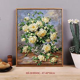Tranh tô màu theo số sơn dầu số hóa - Tranh lọ hoa cổ điển Sơn trà trắng sang trọng mã BH0049C
