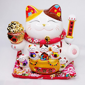Mèo Thần tài sứ Vẫy tay Hũ vàng 25cm (có video sản phẩm)
