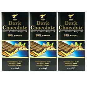 Combo 3 thanh Kẹo Socola đen đắng 85% cacao Figo 100gram