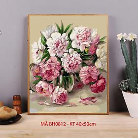 Tranh tự tô màu sơn dầu số hóa - Tranh lọ hoa mẫu đơn hoa tươi BH0812