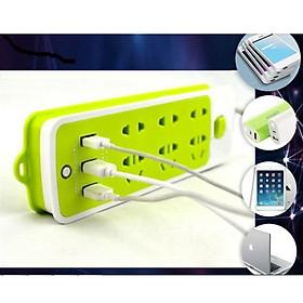 Ổ Cắm Điện Đa Năng Thông Minh Chống Giật 6 Lỗ Kèm 3 Cổng USB Tiện Dụng (Xanh) - Hàng Chính Hãng