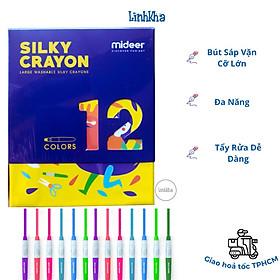 Bút Sáp Vặn Cỡ Lớn Cho Bé Tập Vẽ Hộp 12 Màu - Mideer Silky Crayon 12 colours