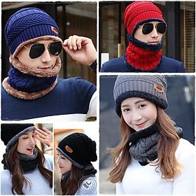 Set mũ len kèm khăn ống lót lông cho nam nữ siêu ấm