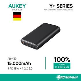Pin Sạc Aukey PB-Y39 15.000 mAh Lõi Pin Tesla, Sạc Nhanh Power Delivery 18W và Quick Charge 3.0 18W - Hàng Chính Hãng