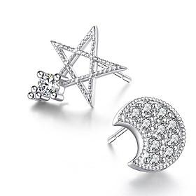 Hoa tai trăng sao sát tai, bạc 925 thời trang nữ cực xinh