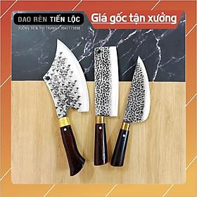 Bộ 3 Dao Nhà Bếp - Dao Chặt, Thái, Lọc Thép Nhíp Ô Tô Dập Vân 2 Mặt Cao Cấp