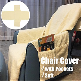 Sobakawa Natural Snuggle Up Poly Fleece Recliner Cover Remote Control Organizers