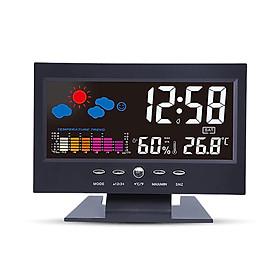 Đồng Hồ Báo Thức Điện Tử Đa Năng Có Màn Hình LCD Hiển Thị Thời Gian/ Ngày/ Tuần/ Nhiệt Độ/ Độ Ẩm/ Thời Tiết - Đen