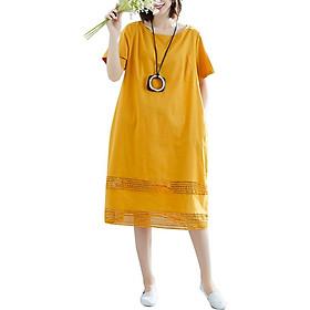 Đầm Suông Chữ A Tay Ngắn Phối Lưới