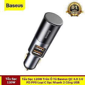 Tẩu Sạc 120W Trên Ô Tô QC 4.0 3.0 PD PPS Type C Sạc Nhanh 2 Cổng USB - Hàng Chính Hãng Baseus
