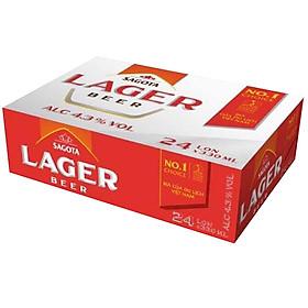 Thùng 24 Lon Sagota Lager Beer 330ml
