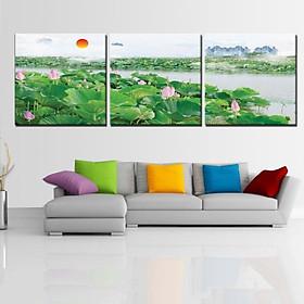 Tranh Canvas treo tường nghệ thuật | Bộ 3 bức vuông| HLB_051