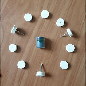 mũi mỉ đánh bóng cho máy khoan mài khắc chân cán 3ly bộ 10 đầu bông tròn to 25mm tặng kèm 1 hộp kem đánh bóng