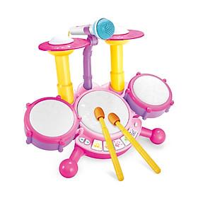 Bộ trống nhạc điện tử dành cho trẻ em Đồ chơi trống nhạc Jazz cho trẻ em có micrô 1 cặp dùi trống Đồ chơi giáo dục Bộ gõ