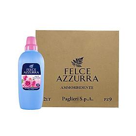 Thùng nước xả vải hương nước hoa Ý hoa hồng và hoa sen siêu mềm mượt Felce Azzurra 2L x 9