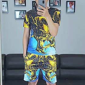 Bộ quần áo nam vải thun,bộ thể thao,bộ mặc nhà nam in họa tiết 3D-09