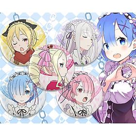 Huy hiệu in hình anime Re:Zero Bắt Đầu Lại Ở Thế Giới Khác anime chibi dễ thương huy hiệu cài áo (MẪU GIAO NGẪU NHIÊN)