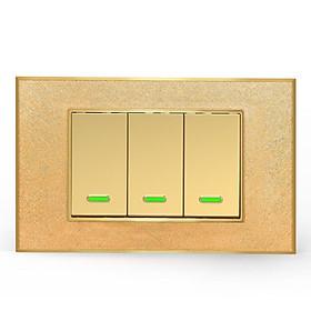 Công tắc điện thông minh cơ 3 nút điều khiển từ xa qua Smartphone HCN màu vàng đồng - Hàng cao cấp (App Tuya/ Smartlife)