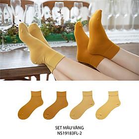 Set hộp 4 đôi tất nữ cổ cao chất liệu cotton cao cấp,họa tiết gam vàng trơn chuyển màu cute dễ thương, hàng chính hãng NICESOKS - hộp đẹp cao cấp phù hợp làm quà tặng - NS19183FL-2